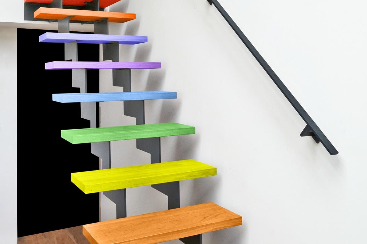 trap schilderen in verschillende kleuren
